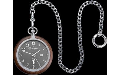 Waidzeit Taschenuhr Walnuss TW0 mit Uhrkette